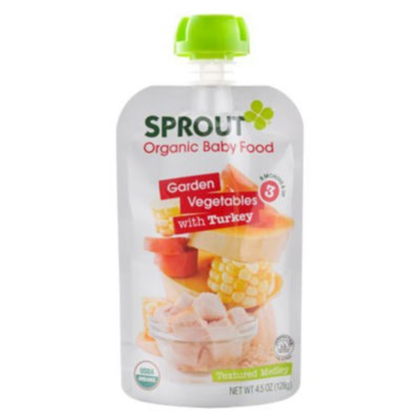 Sprouts Baby Food, Organic, Garden Vegetables Brown Rice, with Turkey, 3 (8 Months & Up)