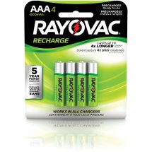 Rayovac Pre-charged Rechargeable NiMH AAA Batteries, 4 ct