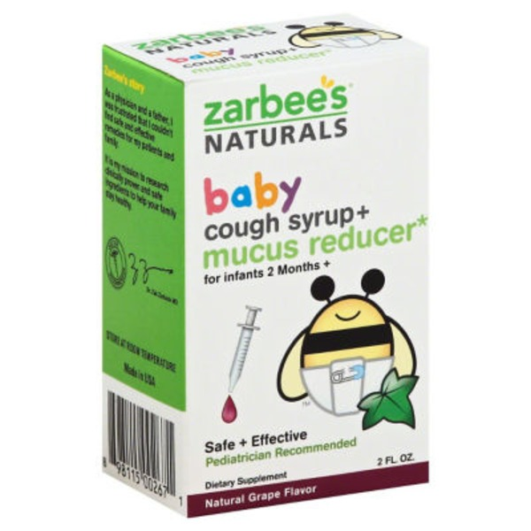 Zarbee's Naturals Baby Cough Syrup + Mucus, Natural Grape Flavor Dietary Supplement
