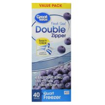 Great Value Double Zipper Freezer Bags, Quart, 40 Count