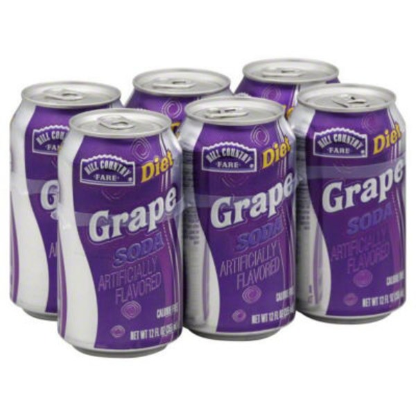 Hill Country Fare Diet Grape Soda Cans