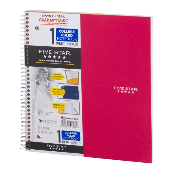 Mead Five Star 1 Subject College Ruled Notebook - 100 Sheets