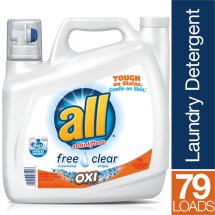 all Liquid Laundry Detergent with OXI Stain Removers and Whiteners, Free Clear, 141 Ounce, 79 Loads