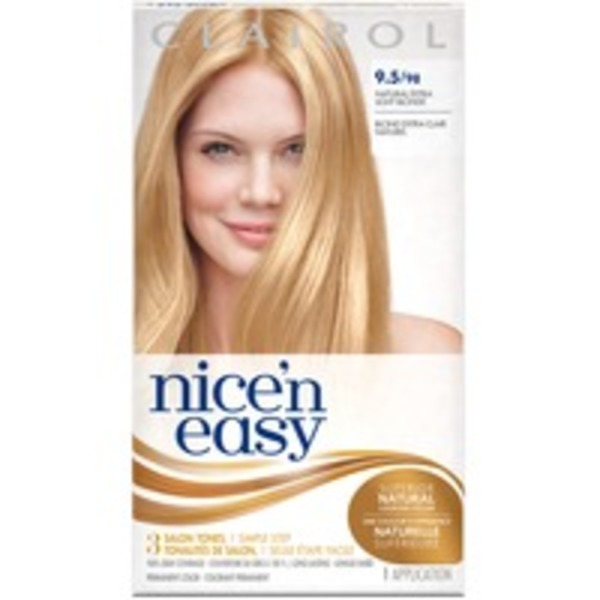 Clairol Nice 'N Easy Permanent Hair Color 9.5 Natural Extra Light Blonde 1 Kit  Female Hair Color