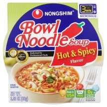 Nongshim Hot & Spicy Flavor Bowl Noodle Soup, 3.03 oz