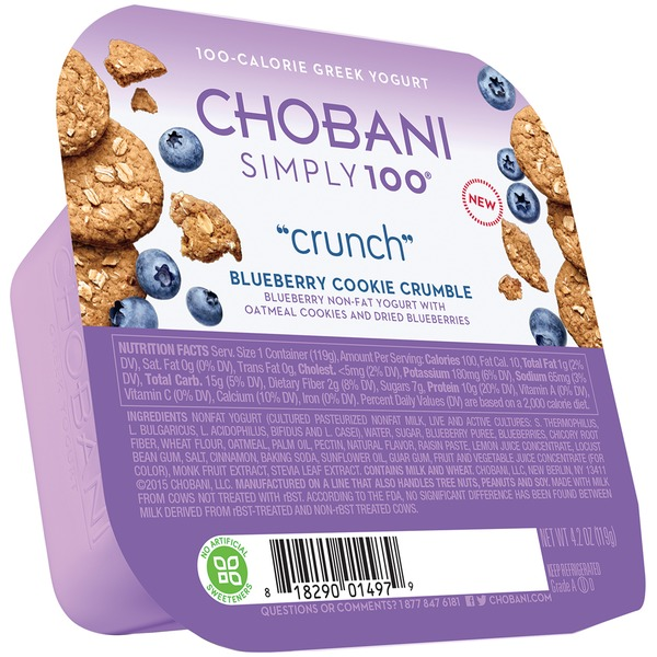 Chobani Simply 100 Crunch Blueberry Cookie Crumble Non-Fat Greek Yogurt