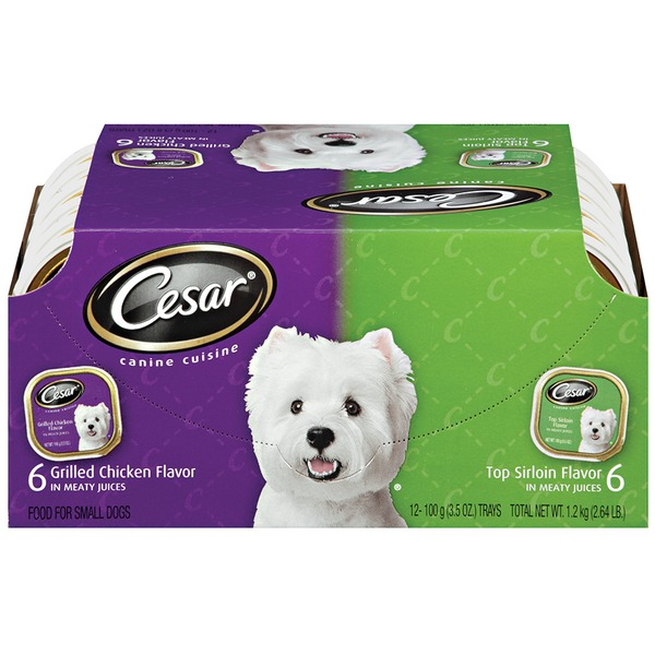 Cesar Variety Pack Canine Cuisine Top Sirloin & Grilled Chicken 3.5 oz Trays Wet Dog Food