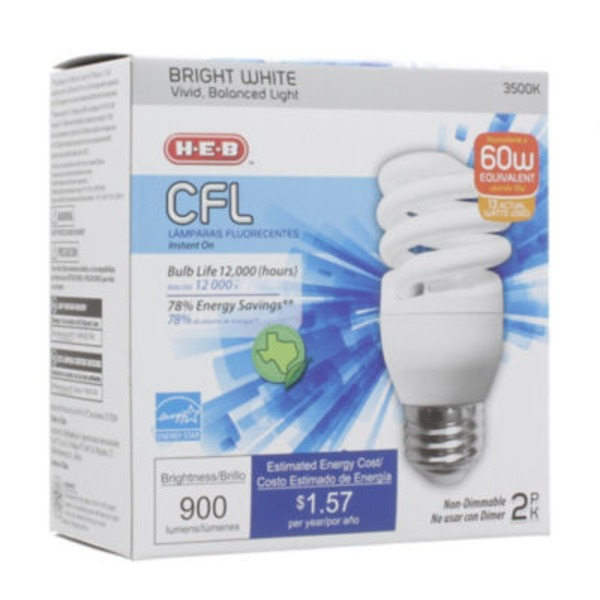 H-E-B 13 W Cfl T2e Micro Bright White Light Bulbs