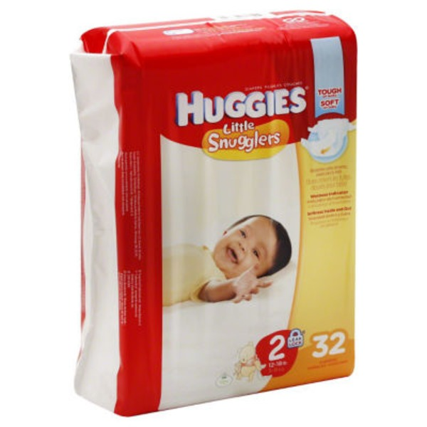 Huggies Little Snugglers Diapers Size 2 / 12-18 lb - 32 CT