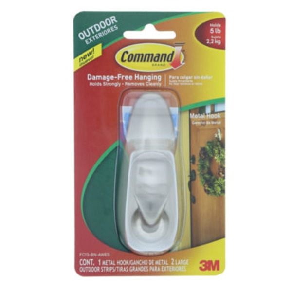 3M Command Outdoor Forever Classic Large Metal Hook with Foam Strips