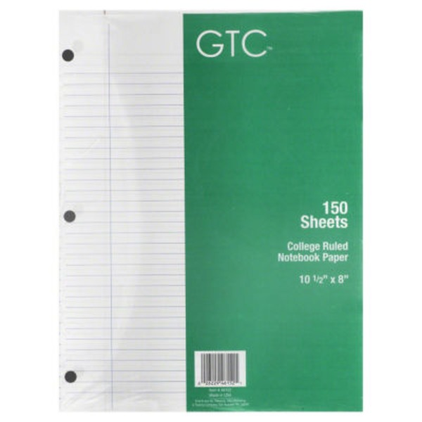 GTC College Ruled Notebook Paper 150 Sheets, 10 1/2 in X 8 in