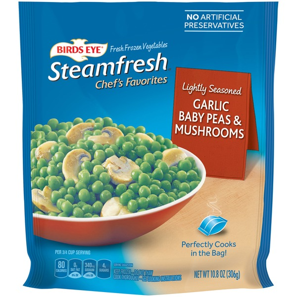 Steamfresh Garlic Baby Peas & Mushrooms Frozen Vegetables