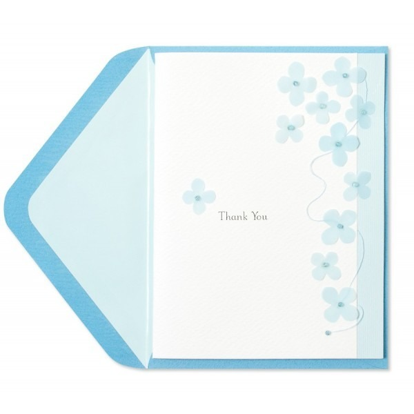 Papyrus Thank You Cards Light Blue Flowers