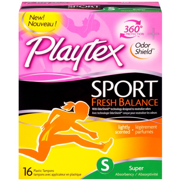 Playtex Tampons, Plastic, Super Absorbency, Fresh Scent