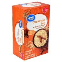 Great Value Instant Oatmeal, Cinnamon Roll, 10 Count