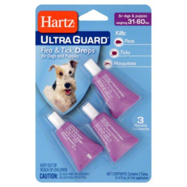 Hartz 31-60 lbs Ultra Guard Flea & Tick Drops for Dogs & Puppies