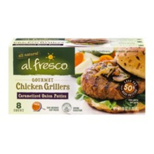 Alfresco Gourmet Chicken Grillers Patties Caramelized Onion - 8 CT
