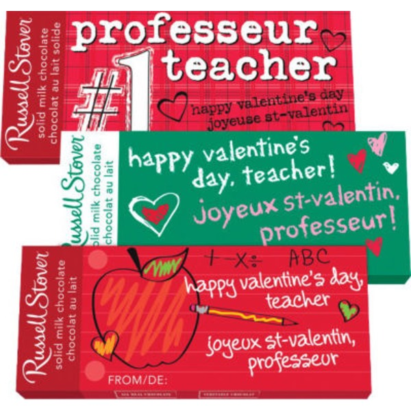 Russell Stover Teacher Valentine Solid Milk Chocolate Bar