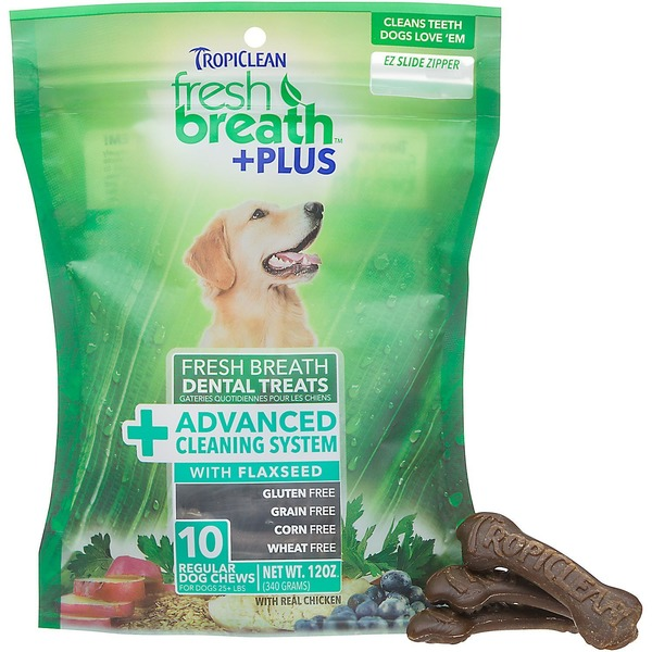 Tropiclean Fresh Breath Plus Advanced Cleaning System With Flaxseed Dental Dog Chews