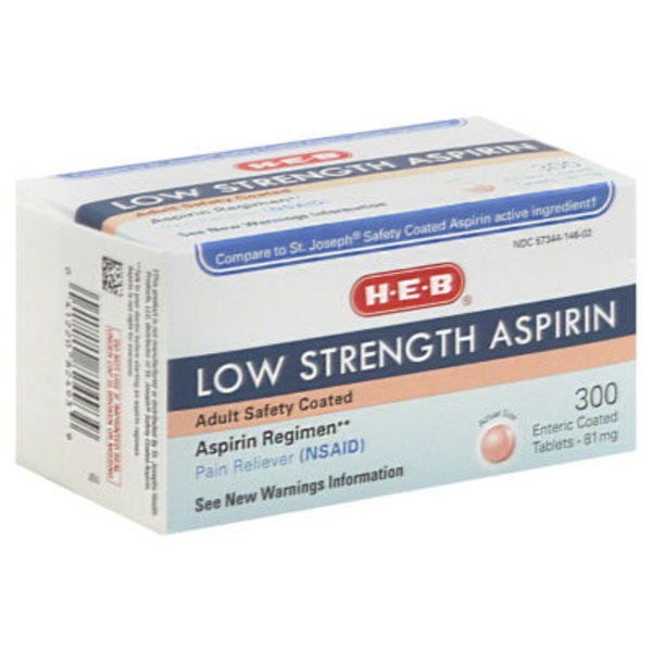 H-E-B Low Strength Aspirin Adult Safety Coated 300 Tabs 81mg