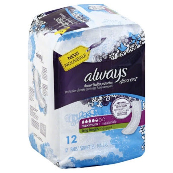 Always Discreet Always Discreet, Incontinence Pads, Maximum, Long Length, 12 Count Feminine Care
