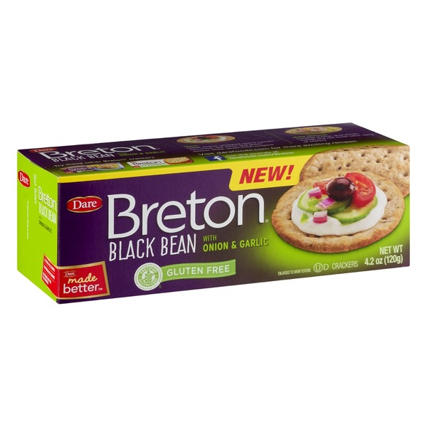 Dare Breton Black Bean With Onion & Garlic Gluten Free Crackers