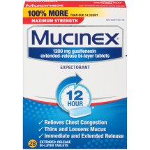 Mucinex Maximum Strength 12-Hour Extended-Release Bi-Layer Tablets, 1200mg, 28 Ct