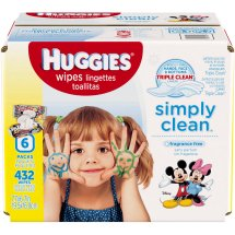 Huggies Simply Clean Baby Wipes, Flip Top, Unscented, 432 Ct