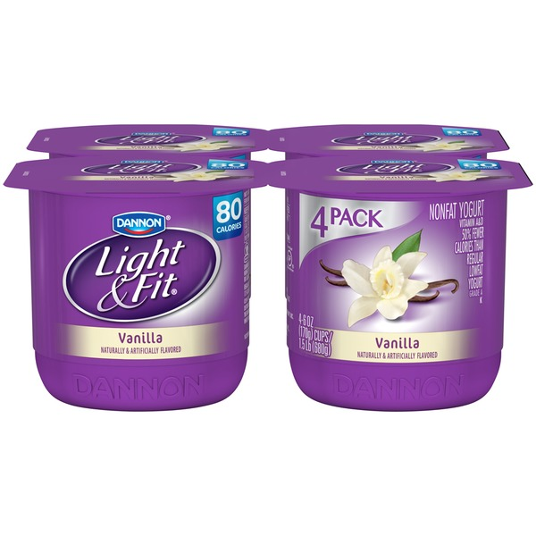 Dannon Light & Fit Vanilla 6 Oz Light & Fit Nonfat Yogurt