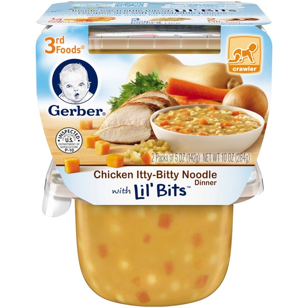 Gerber 3 Rd Foods 3F Chicken Itty-Bitty Noodle Dinner with Lil' Bits  Purees Dinner