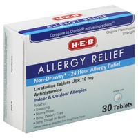 H-E-B Allergy Relief Non Drowsy 24 Hour Relief Loratadine Usp 10mg Tablets Indoor & Outdoor Allergies
