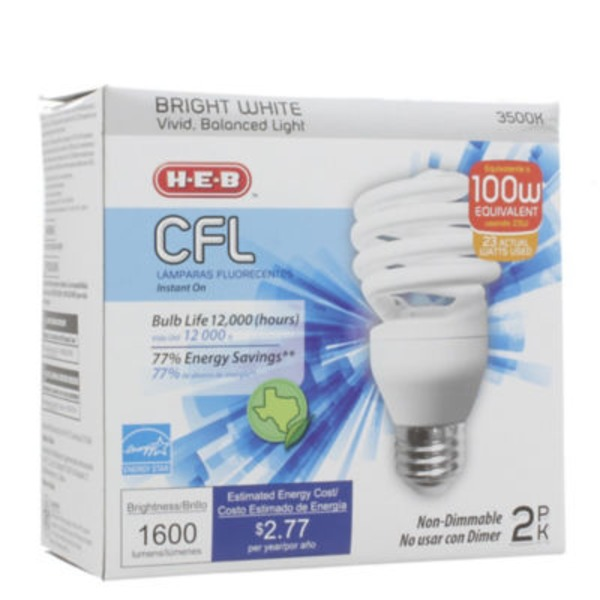 H-E-B 23 W Cfl T2e Micro Bright White Light Bulbs