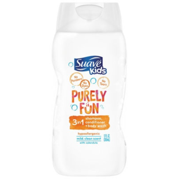 Suave Purely Fun 3 in 1 Shampoo, Conditioner and Body Wash