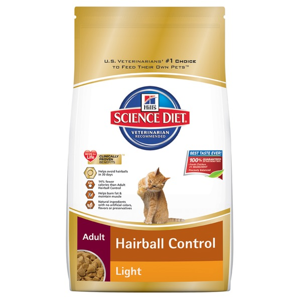 Hill's Science Diet Hairball Control, Light, Adult 1-6 Chicken Recipe Dry Cat Food