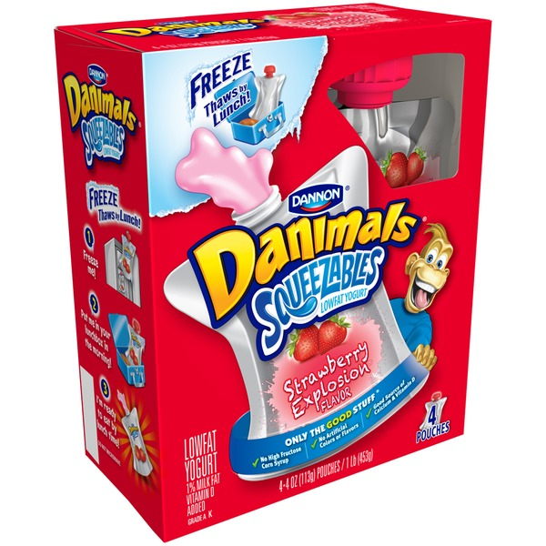 Danimals Squeezables Strawberry Milkshake 4 Oz Lowfat Yogurt