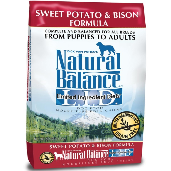 Dick Van Patten's Natural Balance Sweet Potato & Bison Formula Complete & Balanced for All Breeds From Puppies to Adults Limited Ingredient Diet Dog Food