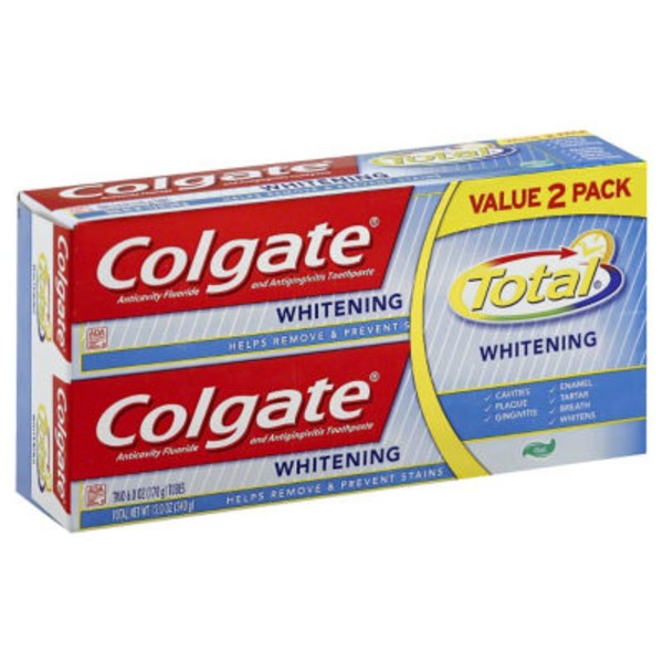 Colgate Fluoride Toothpaste Total Whitening Gel - 2 CT