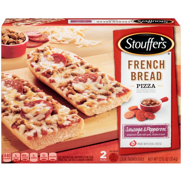Stouffer's French Bread Pizza Made with pepperoni made with Pork, Chicken & Beef Sausage & Pepperoni French Bread Pizza