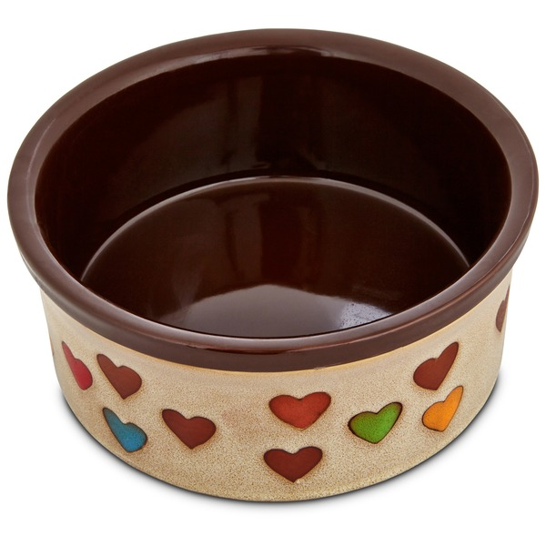 Harmony Heart Print Brown Ceramic Dog Bowl 6 Cups