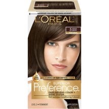 L'Oreal Paris Superior Preference Fade-Defying Color + Shine Hair Color, 5 Medium Brown, 1 Kit