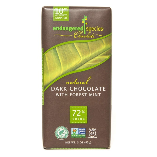 Endangered Species Chocolate Bar Natural Dark Chocolate With Forest Mint