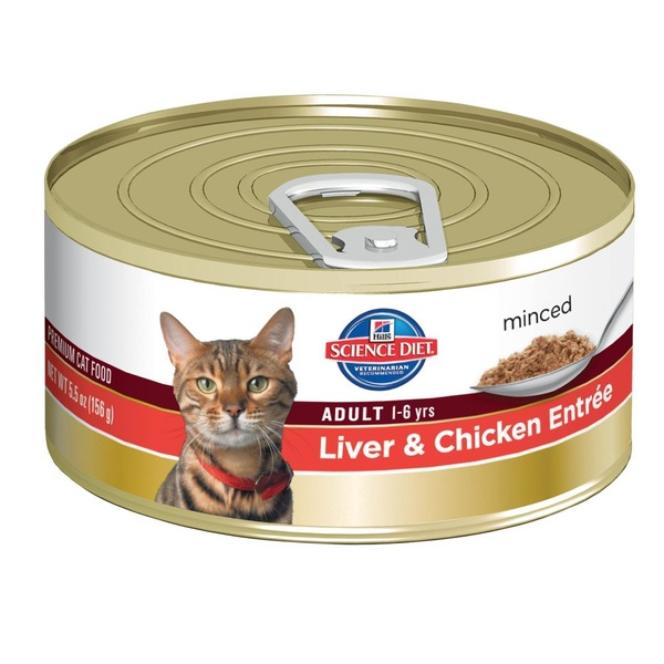 Hill's Science Diet Cat Food, Minced, Adult (1-6 Years), Liver & Chicken Entree