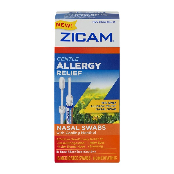 Zicam Gentle Allergy Relief Nasal Swabs with Cooling Menthol - 15 CT
