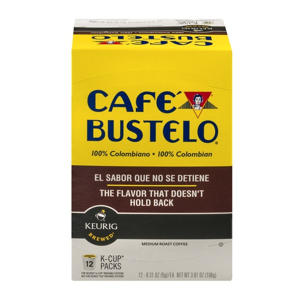 Cafe Bustelo Keurig Hot K Cups 100% Colombian Medium Roast Coffee - 12 CT