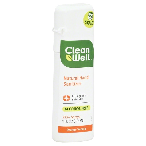 CleanWell Natural Hand Sanitizer Spray, Orange Vanilla