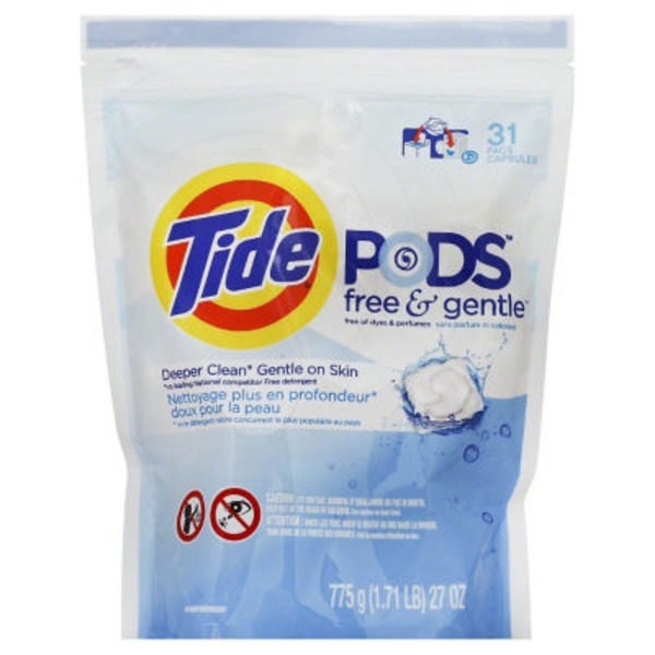 Tide PODS Free & Gentle Laundry Detergent, Unscented, 31 count, Designed for Regular and HE Washers Laundry