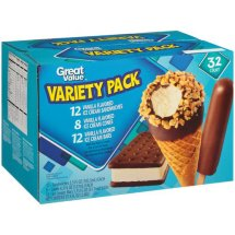 Great Value Variety pk Ice Cream Treats, 32 ct, 97.4 fl oz