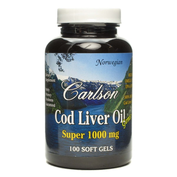 Carlson Labs Cod Liver Oil 100% Norwegian Quality Cod Liver Oil Super 1000 Mg