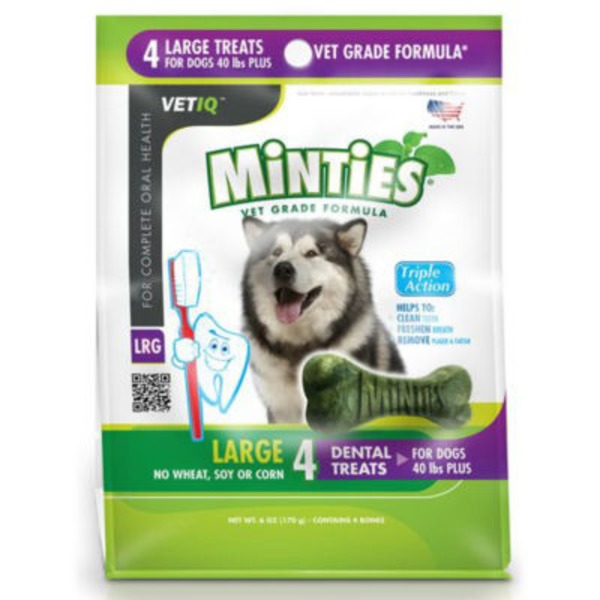 Vet IQ Minites 4 Large Dental Treats For 40+ Lbs Dogs