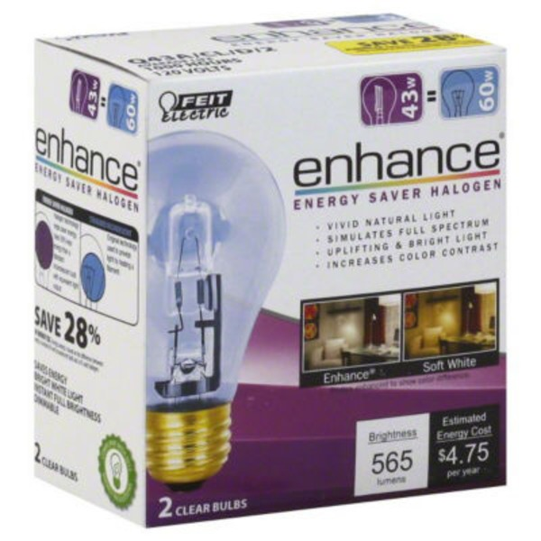 Feit Electric Halogen Clear 43 Watt Light Bulb